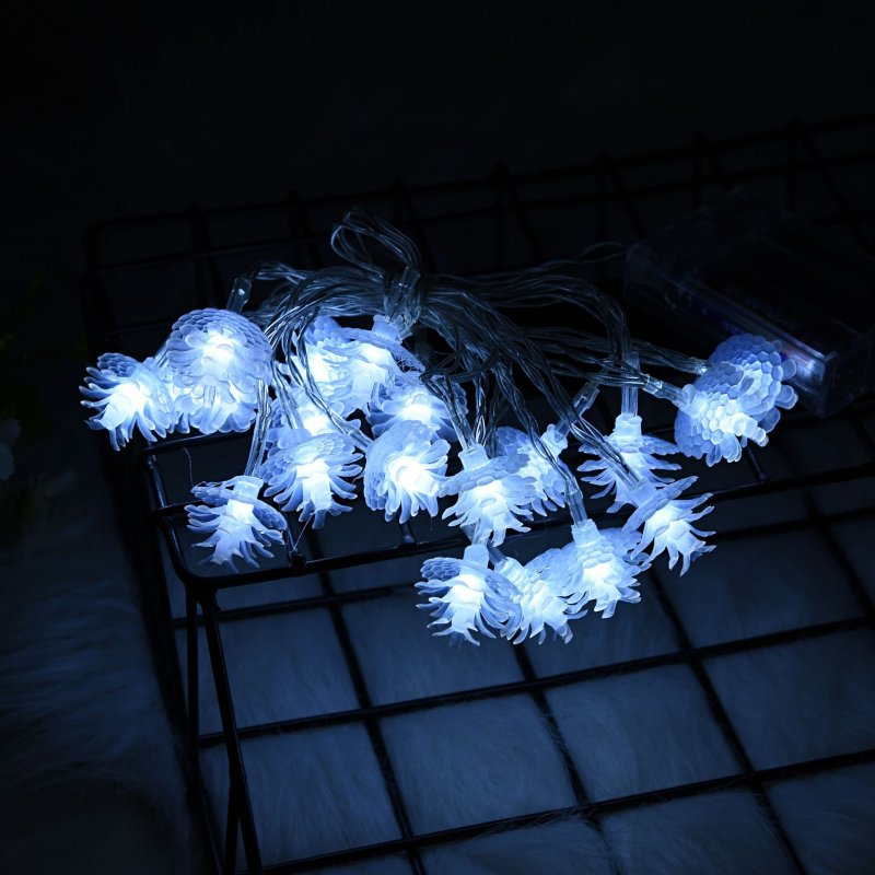 LED Pine String Light Battery Powered Christmas Lamp Holiday Party Wedding Decorative Fairy Lights With flashing white 3 meters 20 lights battery