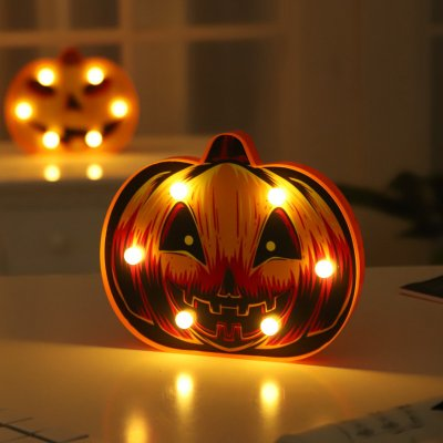 LED Pumpkin Shape Night Light for Halloween Party Decoration Warm White_Triangle eye pumpkin