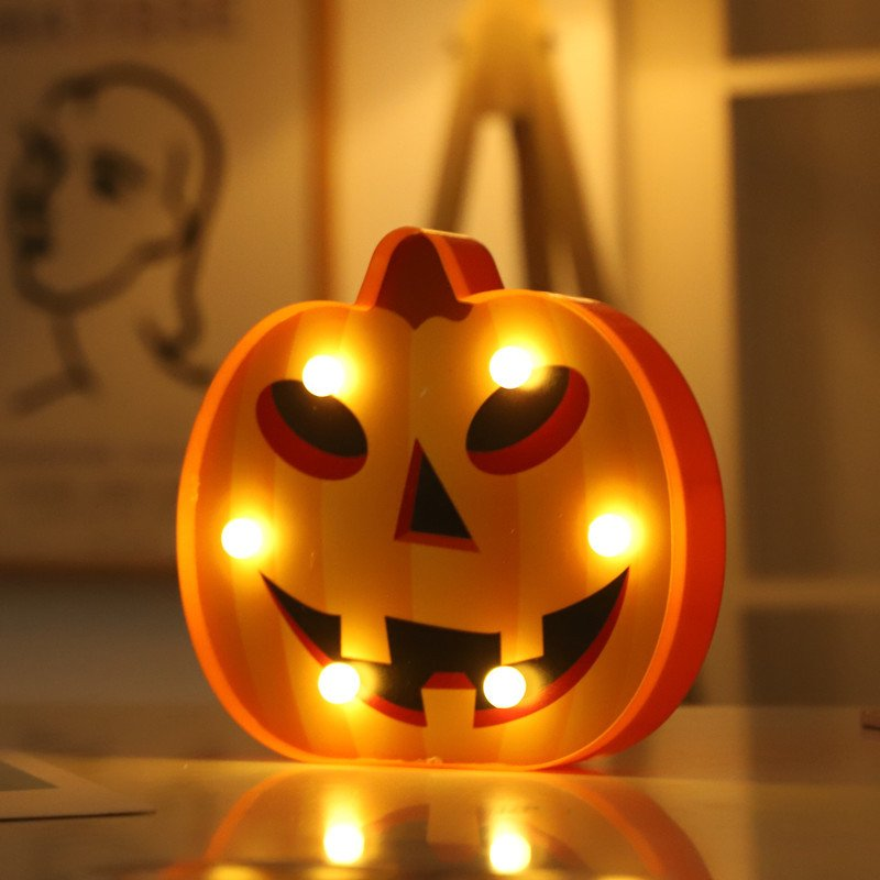 LED Pumpkin Shape Night Light for Halloween Party Decoration Warm White_Round eye pumpkin