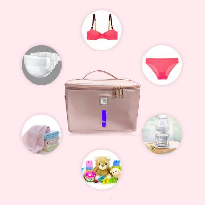 LED Purple Light Disinfection Bag UV 59 Seconds Odor Removal Storage Box for Home Pink