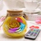 LED RGB Dimmer Lamp Creative Romantic Rose Bottle Light Color Changing Remote Control Banana yellow