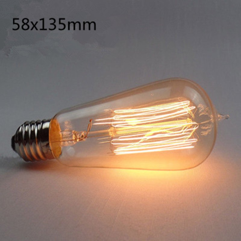 LED Retro Style Decorative Edison Tungsten Lamp Bulb for Home Hotel ST58 straight wire (tip)