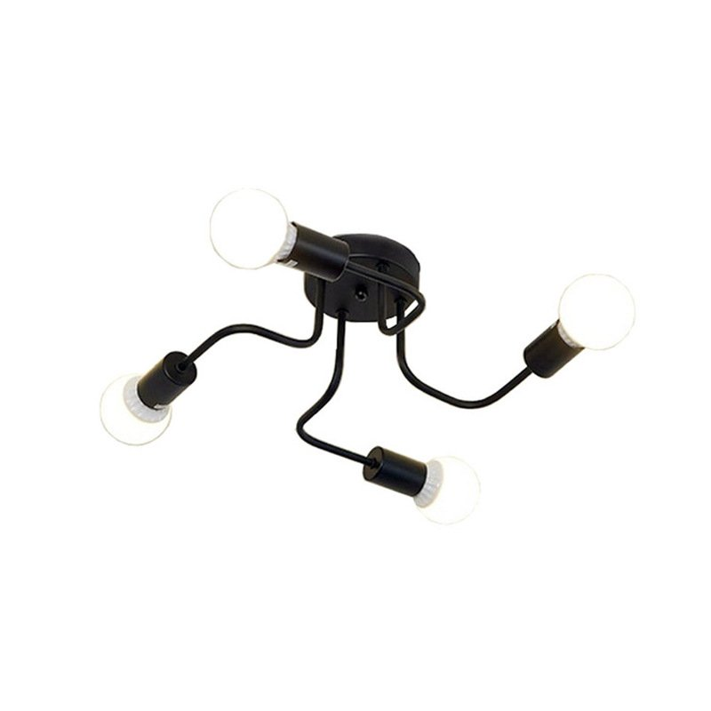LED Retro Wrought Iron Ceiling Light 4 Heads Lamp for Home Restaurant Dinning Cafe Bar Room Decor black_White light with light source