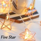 LED Rose Gold Color Five-pointed Star Shape String Light for Balcony Room Decor