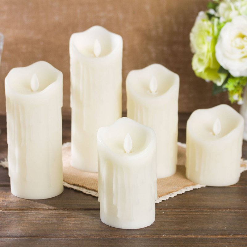 LED Simulate Flameless Electric Candle for Home Wedding Decor Warm Yellow Light 7.5x15cm