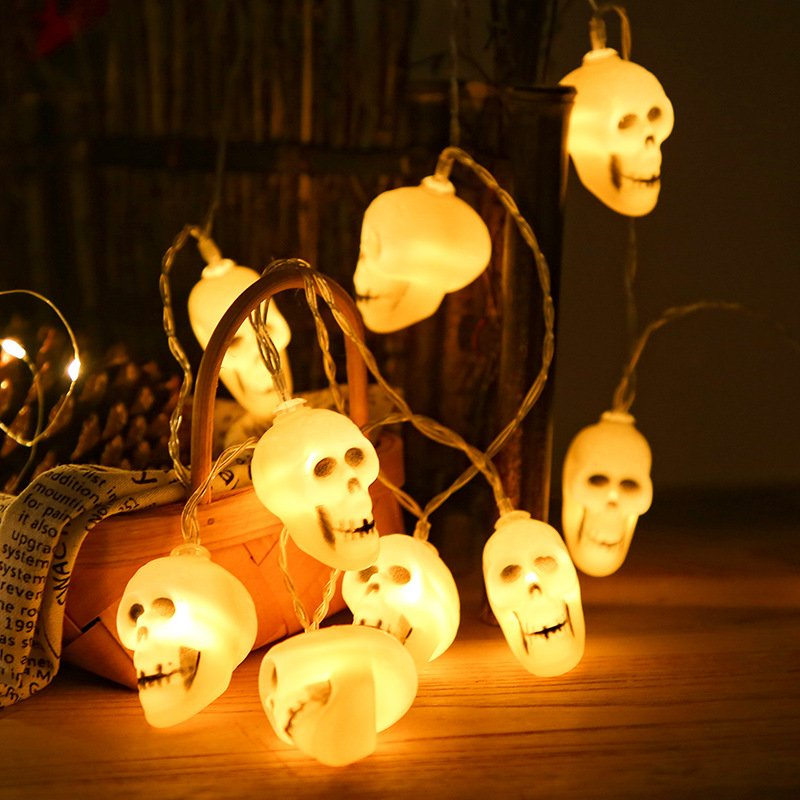 LED Skull Light String for Party Festive Halloween Decorations Ghost Skull Shape Ornament