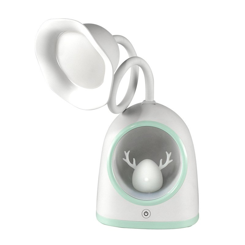 LED Snow Deer Table Lamp USB Charging Tabletop Reading Learning Eye Care Light blue