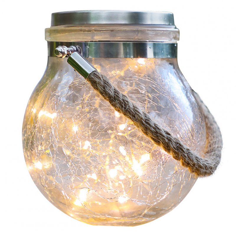Wholesale Led Solar Christmas Lights Crack Pattern Ball Glass Jar Lamp Outdoor Garden Decoration Tree Stars Copper Wire Lights Single Pack Solar Crack Ball Light From China