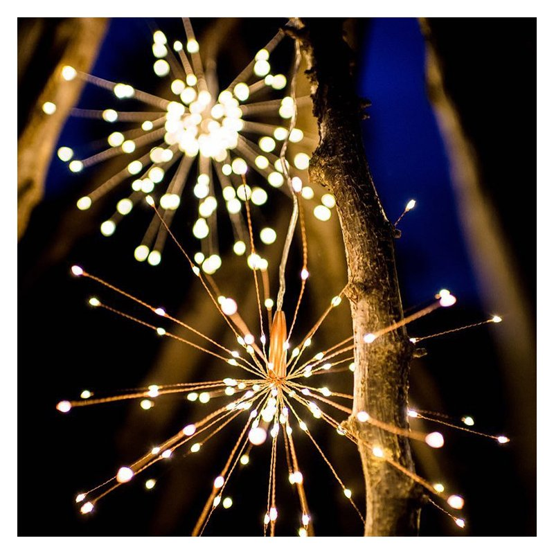 LED Solar Copper Wire Fireworks String Light for Christmas Outdoor Garden Decoration Warm White_40 200-lamp solar models