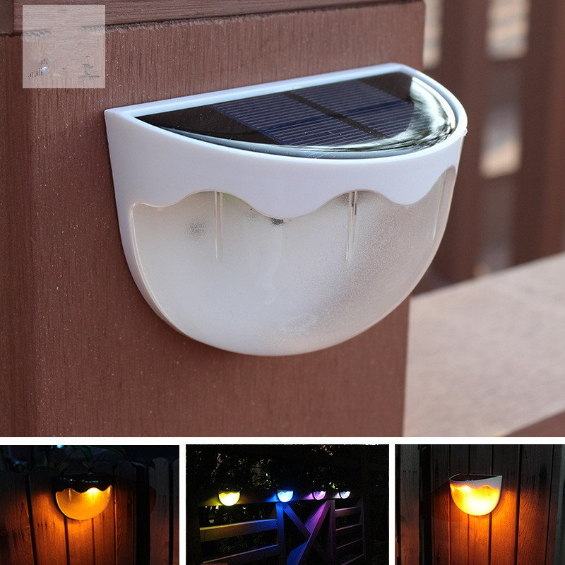 LED Solar Fence Light Waterproof Wall Lamp for Home Outdoor Garden Courtyard 7 Colors +Warm Light