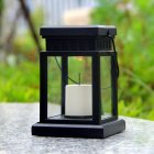 LED Solar Flameless Candle Lantern with Hanging Clip for Outdoor Lighting warm light