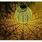 LED Solar Lantern Outdoor Decorative Metal Hanging Lights for Garden Yard Patio Lawn  warm light_lantern