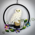 LED  Solar Owl Shape Night Light Hanging Lamp for Courtyard Decoration white