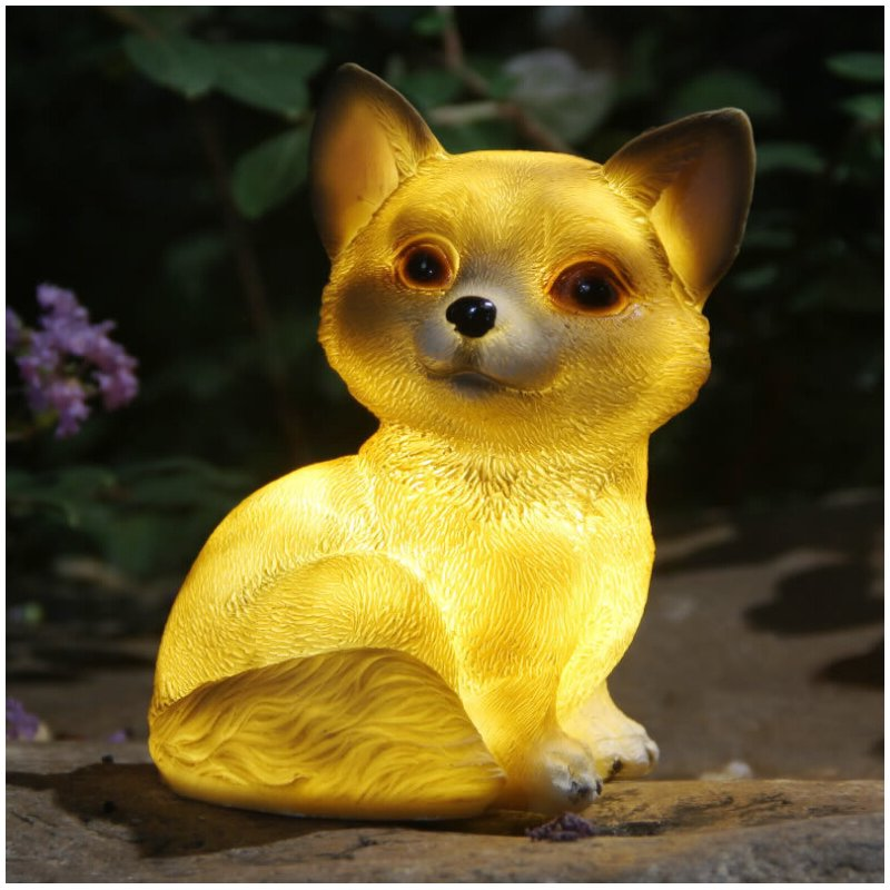 LED Solar-Powered Cute Dog Shape Lamp for Outdoor Decoration Warm Lighta 17x12x10cm
