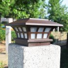LED Solar Powered Pillar Lamp Outdoor Waterproof Light for Garden Yard Brown color white light