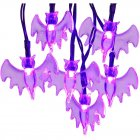 LED Solar String Light Purple Spider Light for Halloween Party Garden Home Yard Decorations Purple Bat
