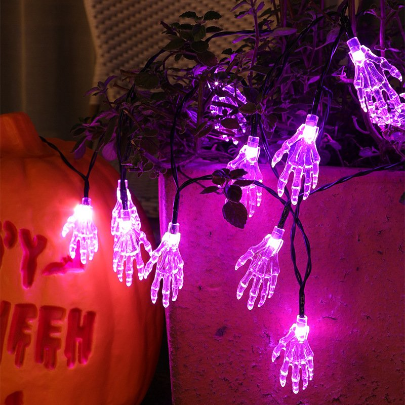 LED Solar String Light Purple Spider Light for Halloween Party Garden Home Yard Decorations Transparent palm