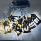 LED String Light Iron House Shape Pendant Garden Xmas Wedding Party Ramadan Eid Decor white