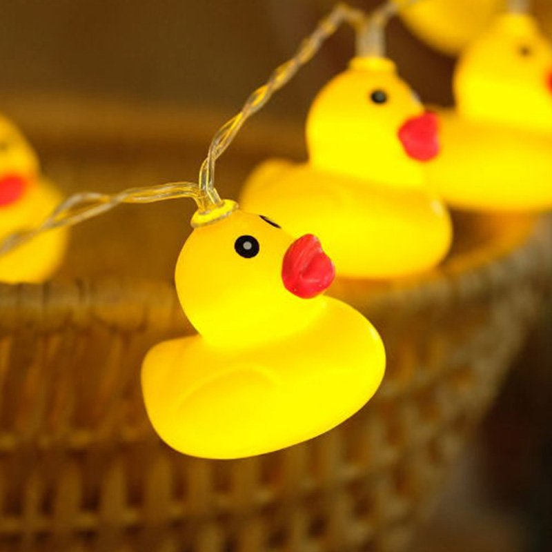 LED String Lights Plastic Yellow Duck Battery Fairy Light Christmas Party Garden Yard Decor 1.5 m 10 lights - battery models