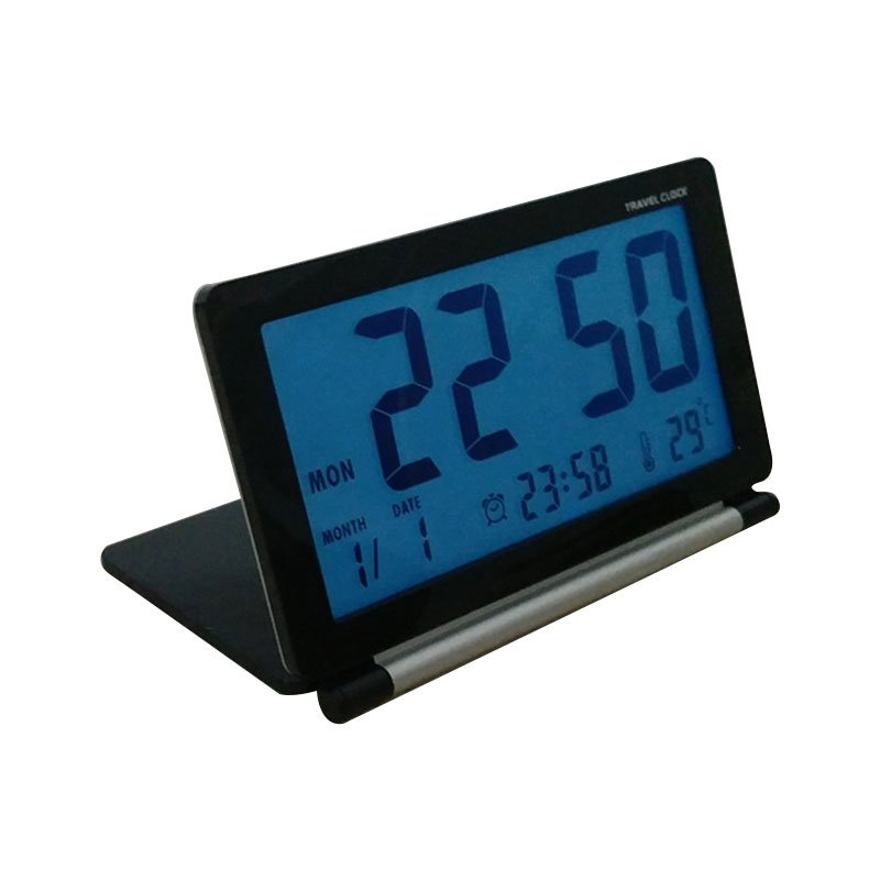 LED Ultrathin Mini Portable Travel Clamshell Digital Table Alarm Clock with Night Lamp