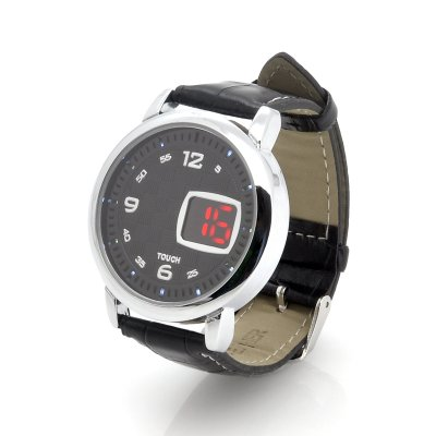 LED Touch Watch w/ Leather Strap - Checkers