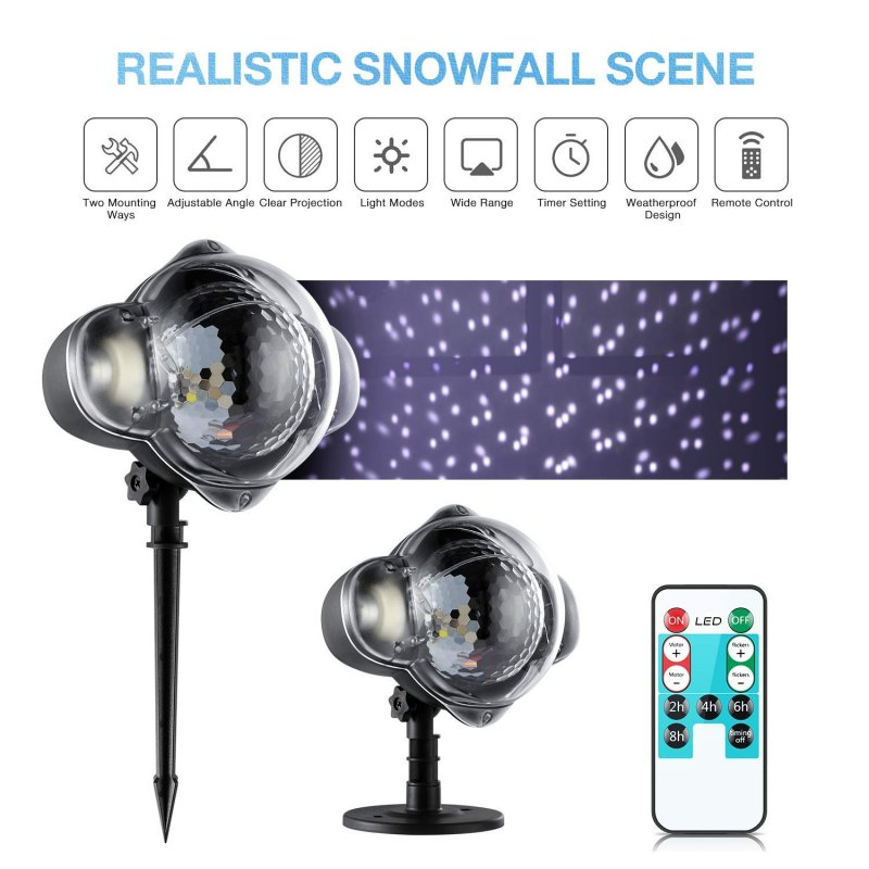LED Waterproof Snowfall Effect Light Projecto