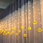 LED Window Curtain String Light Party Hallowmas Outdoor Indoor Wall Decorations Warm White_3.5 m 96 LED pumpkin_European standard 220V