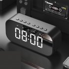 LED Wireless Bluetooth Speaker Mirror Screen Display Alarm Clock black