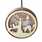 LED Wooden Hollow Light Round Shape Hanging Pendant Holiday Party Decorative Night Light JM01490