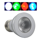 LED color changing light bulb with wireless remote for use in any standard incandescent socket