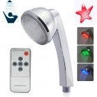 LED color changing shower head with remote and HOT  WARM  COLD water detection colors   This lighted shower head changes color with the temperature of the water