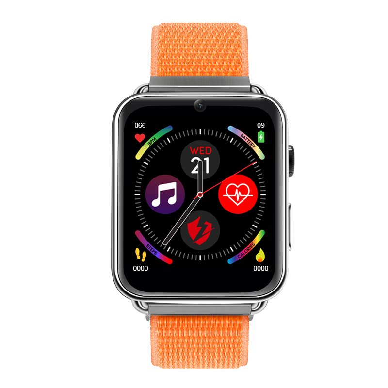LEMFO LEM10 4G Smart Watch Android 7.1 3G RAM 32G ROM 1.88 inch Big Screen LTE 4G Sim Camera GPS WIFI Heart Rate Nylon orange_32GB