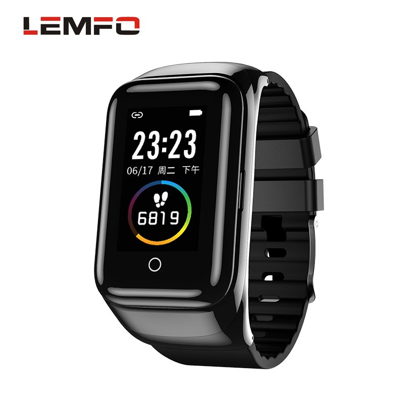 LEMFO M7 Smart Watch Bracelet Color Screen Sports Pedometer Dual Bluetooth Headset 2-in-1 Bracelet  black