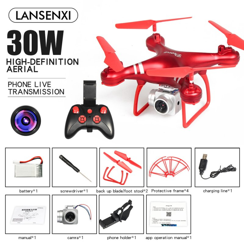 LF608 Wifi FPV RC Drone Quadcopter with 0.3MP/2.0MP/5.0MP Camera Get the Longer Playing Time Red 0.3MP