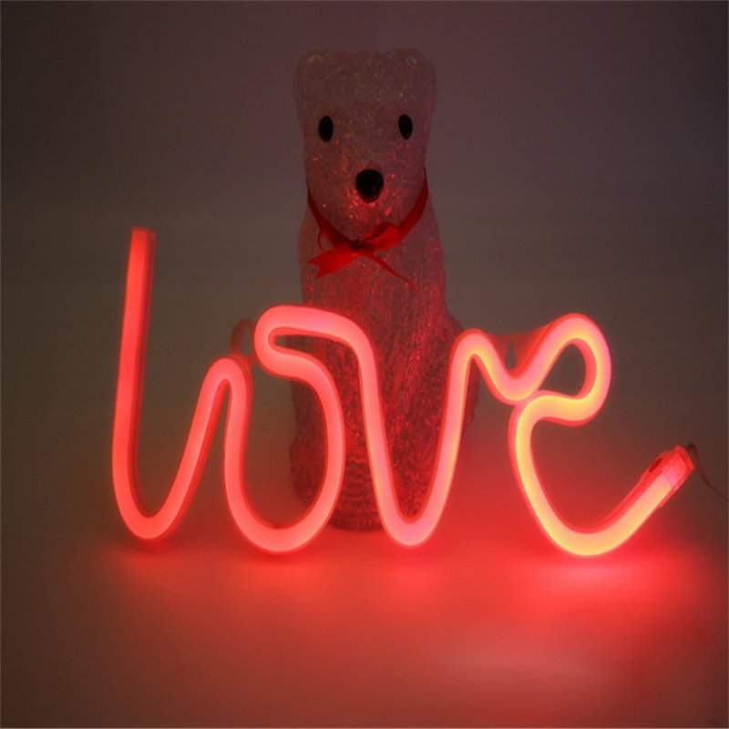 LOVE Letters Shape LED Light Wall Hanging Neon Light for Festival Party Wedding Decor Red_Battery Package