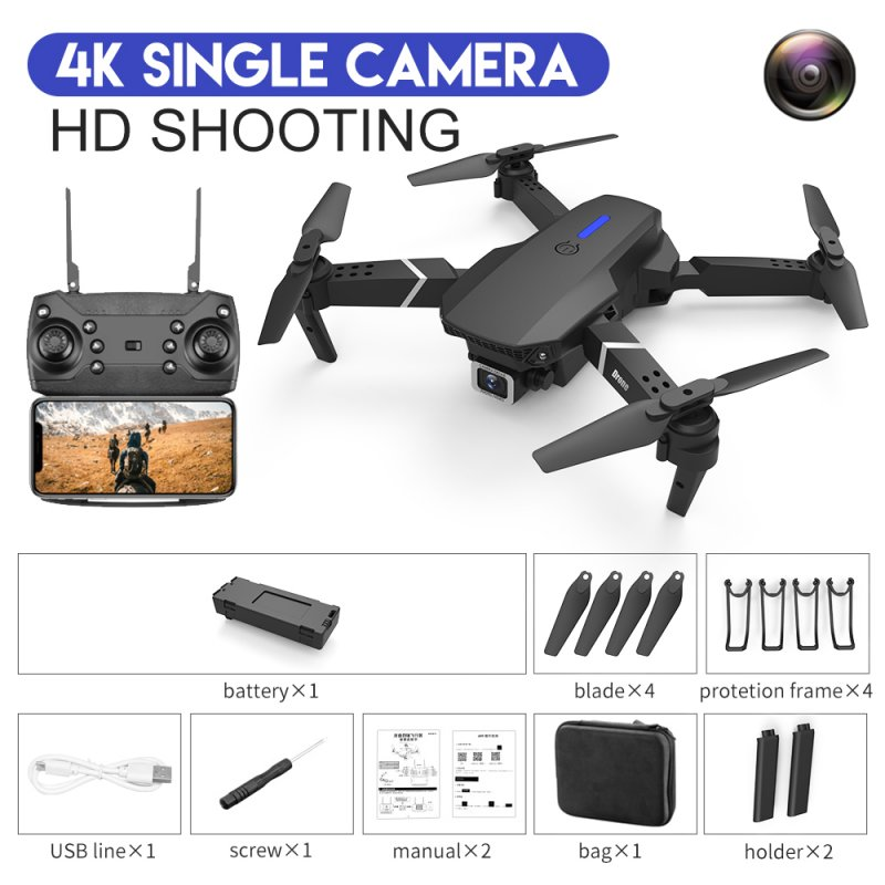 LS-E525 Drone 4k RC Drone Quadcopter Foldable Toys Drone with Camera HD 4K WIFi FPV Drones One Click Back Mini Drone Single lens 4K storage package black