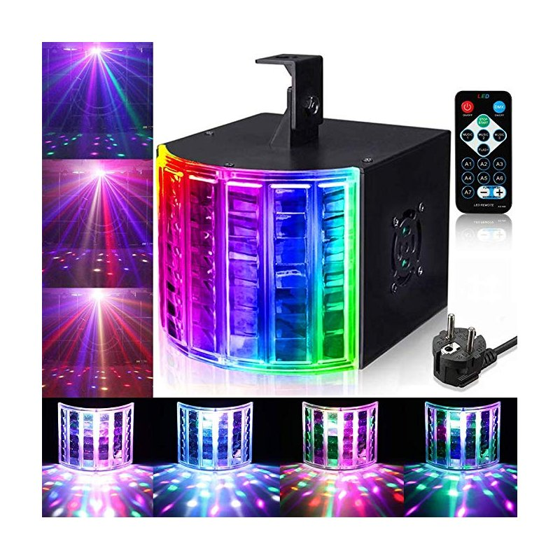 LUNSY DJ Dance DMX512 Sound Actived Stage Disco Light, Portable Party Lights with Remote Control for Dance Parties, Birthday, Wedding, etc