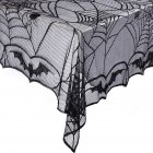 Lace Bat Spider Web Tablecover for Halloween Decorations Party Props 122x244cm  black_122x244cm