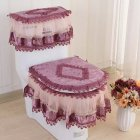 Lace Bathroom Toilet Seat Pad Tank Lid Top Cover Toilet Pad Set Purple