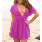 Ladies Beach Dress Cover Up Casual Short Sleeve Wear Swimwear purple_One size
