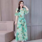 Ladies Fashion Print Style Slim V Neck Middle Waist Long Dress  green 2XL