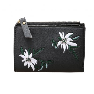 Ladies Mini Folding Purse Embroidered Flower Pattern Zipper Wallet Card Holder black