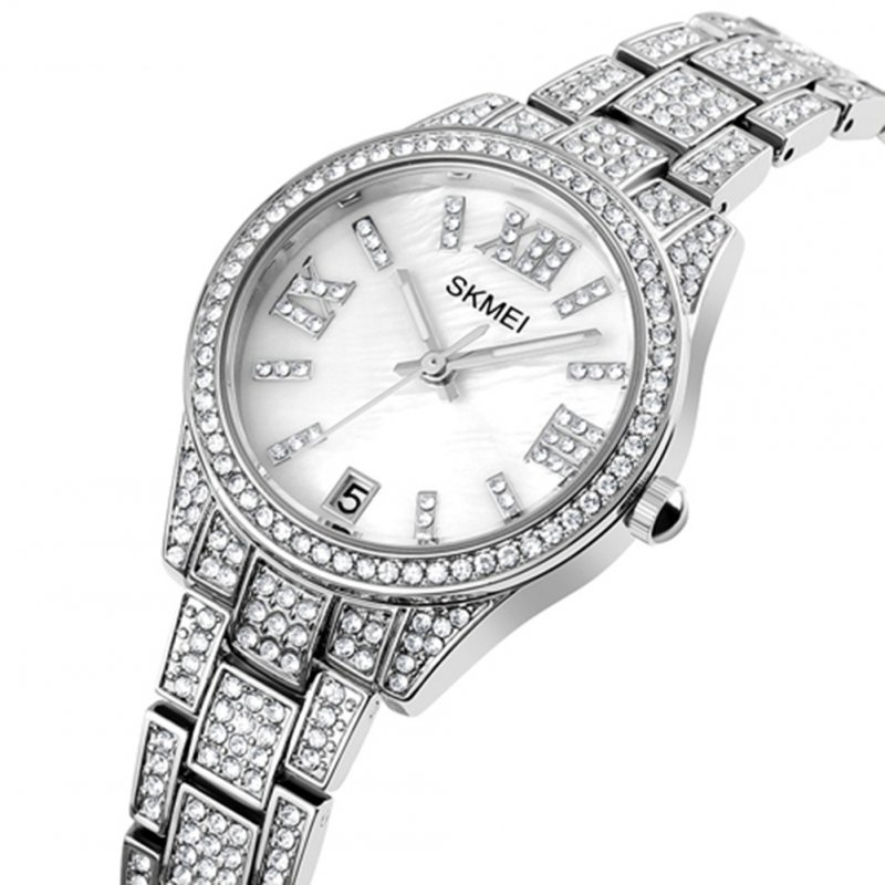 Ladies Quartz  Watch Stainless Steel Luxury Rhinestone Dial Watch Time Date Display Clock Silver