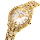 Ladies Quartz  Watch Stainless Steel Luxury Rhinestone Dial Watch Time Date Display Clock Golden