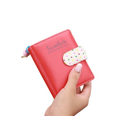Lady Cute Wave Point Buckle Design Fashion Purse Coins Pouch watermelon red_814 short