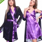 Lady Lace Brim Pajamas Nightdress Woman See-through Sexy Underwear  purple_One size