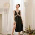 Lady Lace Side Split V-neck Backless Sling Nightdress + Briefs Sexy Temptation Lingerie Underwear black_One size