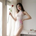Lady See Through High Side Split Cheongsam + Briefs Sexy Temptation Lingerie Underwear white_One size