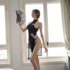 Lady See Through High Side Split Cheongsam + Briefs Sexy Temptation Lingerie Underwear black_One size