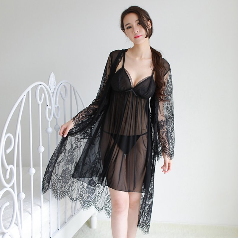 Lady See Through Lace Sling Nightdress + Night Gown + Briefs Sexy Temptation Lingerie Sleepwear black_One size
